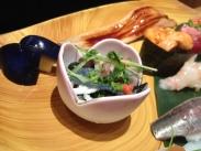 Raw fish with greens and stuff (Midori Sushi)